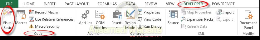 ورود به محیط کدنویسی اکسل
